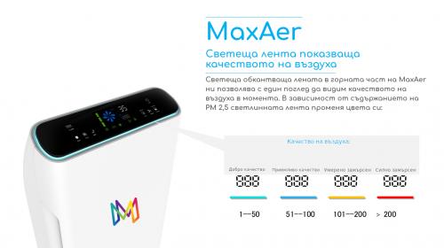 MaxAer Пречиствател за въздух, UV лампа, HEPA филтър, дезинфекцира, без вируси и бактерии, Свободно стоящ